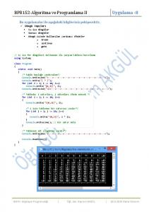 BPR152-Algoritma ve Programlama II Uygulama -8