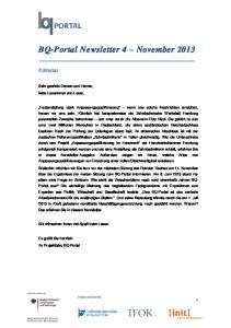 BQ-Portal Newsletter 4 November 2013