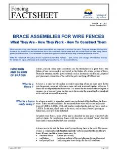 BRACE ASSEMBLIES FOR WIRE FENCES. What They Are - How They Work - How To Construct Them