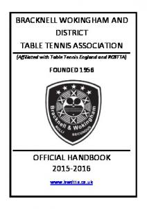 BRACKNELL WOKINGHAM AND DISTRICT TABLE TENNIS ASSOCIATION