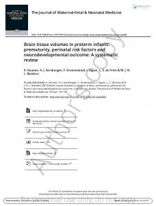 Brain tissue volumes in preterm infants: prematurity, perinatal risk factors and neurodevelopmental outcome: A systematic review