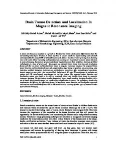 Brain Tumor Detection And Localization In Magnetic Resonance Imaging