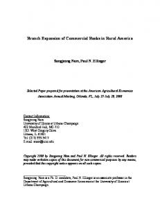 Branch Expansion of Commercial Banks in Rural America