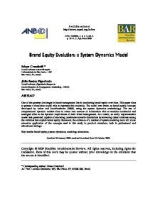 Brand Equity Evolution: a System Dynamics Model