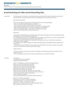 Brand Marketing Via Video Social Networking Sites
