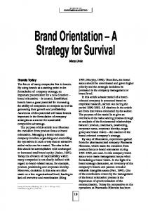 Brand Orientation A Strategy for Survival