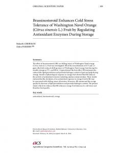 Brassinosteroid Enhances Cold Stress Tolerance of Washington Navel Orange (Citrus sinensis L.) Fruit by Regulating Antioxidant Enzymes During Storage