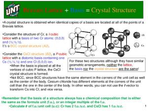 Bravais Lattice + Basis = Crystal Structure