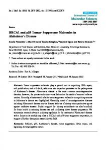 BRCA1 and p53 Tumor Suppressor Molecules in Alzheimer s Disease