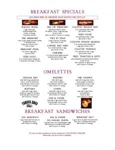 BREAKFAST SPECIALS ADD HOME FRIES OR SHREDDED HASH BROWNS FOR JUST $1.10
