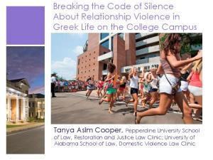 Breaking the Code of Silence About Relationship Violence in Greek Life on the College Campus
