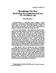 Breaking the Ice: Rethinking Telecommunications Law for the Digital Age