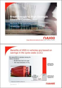 Breakthrough of High Strength Steels in Construction