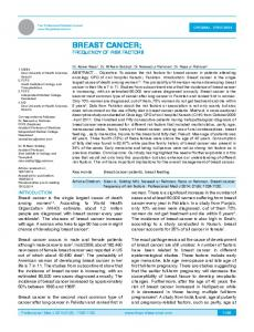 BREAST CANCER; FREQUENCY OF RISK FACTORS