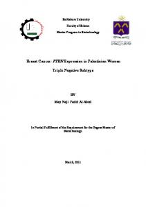 Breast Cancer: PTEN Expression in Palestinian Women. Triple Negative Subtype
