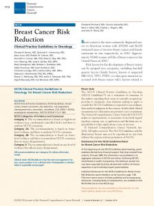 Breast Cancer Risk Reduction
