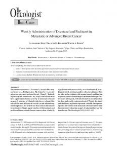 Breast Cancer. Weekly Administration of Docetaxel and Paclitaxel in Metastatic or Advanced Breast Cancer