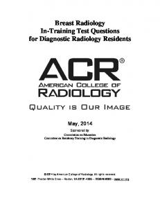 Breast Radiology In-Training Test Questions for Diagnostic Radiology Residents