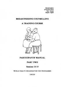 BREASTFEEDING COUNSELLING A TRAINING COURSE