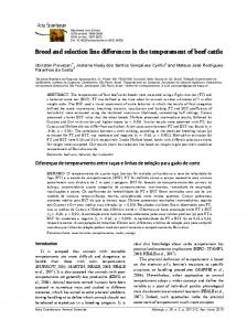 Breed and selection line differences in the temperament of beef cattle