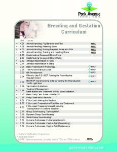 Breeding and Gestation Curriculum