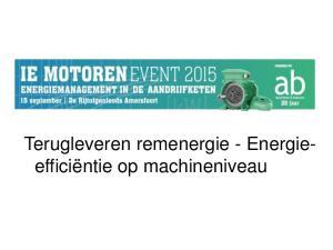 Bremsenergie managen. Terugleveren remenergie - Energieefficiëntie