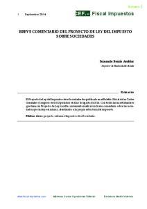BREVE COMENTARIO DEL PROYECTO DE LEY DEL IMPUESTO SOBRE SOCIEDADES