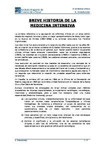BREVE HISTORIA DE LA MEDICINA INTENSIVA