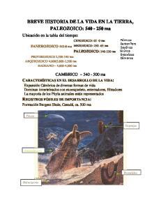 BREVE HISTORIA DE LA VIDA EN LA TIERRA, PALEOZOICO: ma