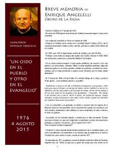 Breve memoria de Enrique Angelelli Obispo de La Rioja