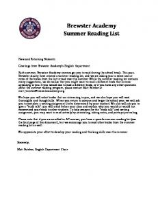 Brewster Academy Summer Reading List