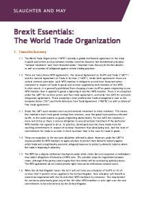 Brexit Essentials: The World Trade Organization
