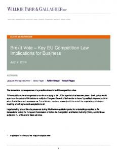 Brexit Vote Key EU Competition Law Implications for Business