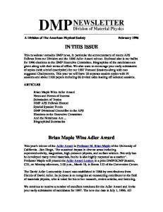 Brian Maple Wins Adler Award