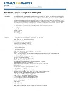 Bridal Wear - Global Strategic Business Report