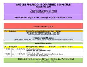 BRIDGES FINLAND 2016 CONFERENCE SCHEDULE August 9-13, 2016