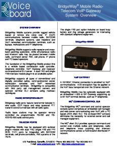 BridgeWay Mobile Radio- Telecom VoIP Gateway System Overview
