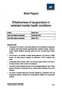 Brief Report. Effectiveness of acupuncture in selected mental health conditions
