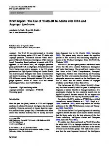 Brief Report: The Use of WAIS-III in Adults with HFA and Asperger Syndrome