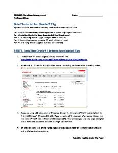Brief Tutorial for Oracle 11g