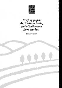 Briefing paper: Agricultural trade, globalisation and farm workers. January 2003