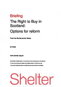 Briefing The Right to Buy in Scotland: Options for reform