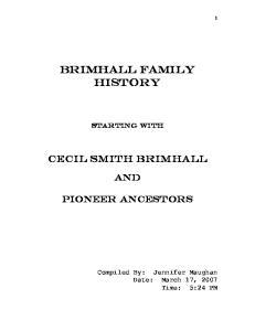 BRIMHALL FAMILY HISTORY
