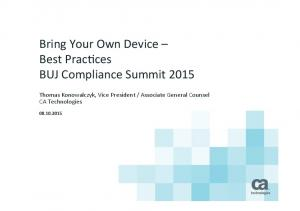 Bring Your Own Device Best Prac5ces BUJ Compliance Summit 2015