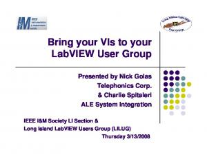 Bring your VIs to your LabVIEW User Group