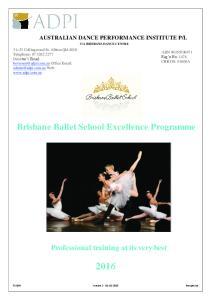 Brisbane Ballet School Excellence Programme