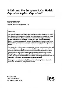 Britain and the European Social Model: Capitalism Against Capitalism?