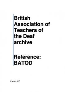 British Association of Teachers of the Deaf archive. Reference: BATOD