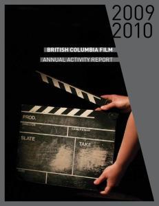BRITISH COLUMBIA FILM ANNUAL ACTIVITY REPORT
