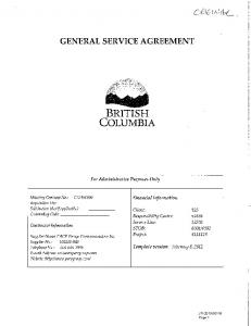 BRITISH COLUMBIA GENERAL SERVICE AGREEMENT. For Administrative Purposes Only